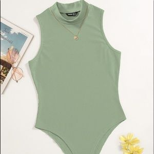 Olive ribbed body suit